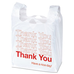 "Plastic ""Thank You"" Shopping Bags, 11 x 6 x 22, 0.55 mil, White/Red, 1000/Box"