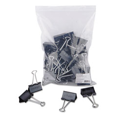 "Large Binder Clips, Zip-Seal Bag, 1"" Capacity, 2"" Wide, Black, 36/Bag"