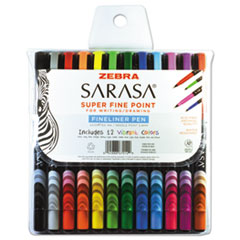 Sarasa Porous Pen, .8 mm, Fine, Assorted Ink, 12/Set