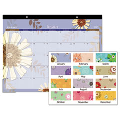 FLOWERS MONTHLY DESK PAD, 22 X 17