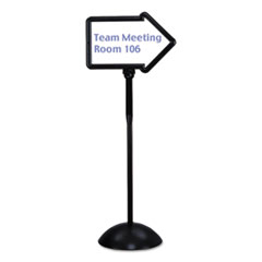 Double-Sided Arrow Sign, Dry Erase Magnetic Steel, 25 1/2 x 17 3/4, Black Frame