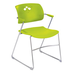 Veer Series Stacking Chair With Arms, Sled Base, Grass/Chrome, 4/Carton