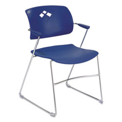 Veer Series Stacking Chair With Arms, Sled Base, Blue/Chrome, 4/Carton