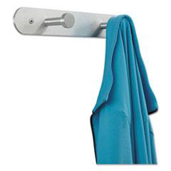 Nail Head Wall Coat Rack, Two Hooks, Metal, 12w x 2-3/4d x 2h, Satin Aluminum
