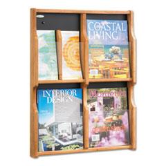 Expose Adj Magazine/Pamphlet Four Pocket Display, 20w x 26-1/4h, Medium Oak
