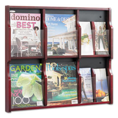 Expose Adj Magazine/Pamphlet Six Pocket Display, 29-3/4w x 26-1/4h, Mahogany