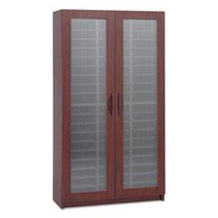 Literature Organizer, Particleboard/Polycarbonite, 60 Compartments, Mahogany