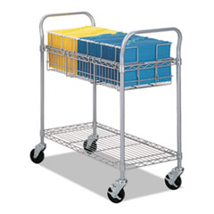 Wire Mail Cart, 600-lb Cap, 18-3/4w x 39d x 38-1/2h, Metallic Gray