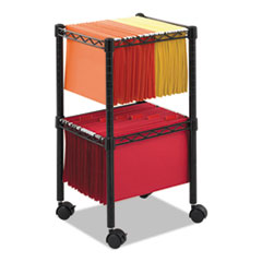 Two-Tier Compact Mobile Wire File Cart, Steel, 15-1/2w x 14d x 27-1/2h, Black