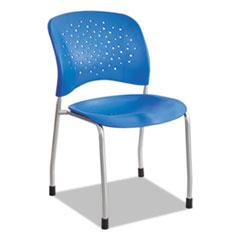 Rêve Series Guest Chair W/ Straight Legs, Lapis Plastic, Silver Steel, 2/Carton