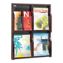 Expose Adj Magazine/Pamphlet Four Pocket Display, 20w x 26-1/4h, Mahogany