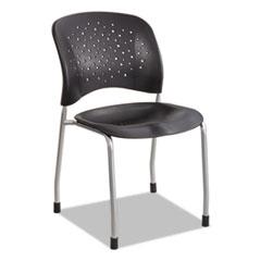 Rêve Series Guest Chair W/ Straight Legs, Black Plastic, Silver Steel, 2/Carton