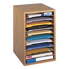 Wood Vertical Desktop Sorter, 11 Sections 10 5/8 x 11 7/8 x 16, Medium Oak