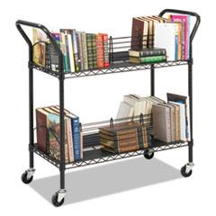 Wire Book Cart, Steel, Four-Shelf, 44w x 18-3/4d x 40-1/4h, Black