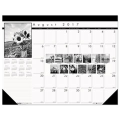Black-on-White Academic Desk Pad Calendar, 22 x 17, 2017-2018
