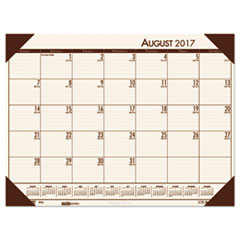 Recycled EcoTones Academic Desk Pad Calendar, 18.5x13, Brown Corners, 2017-2018