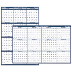 Recycled Poster Style Reversible Academic Yearly Calendar, 24 x 37, 2017-2018