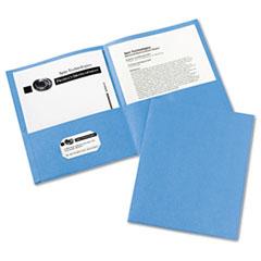 Two-Pocket Folder, 40-Sheet Capacity, Light Blue, 25/Box