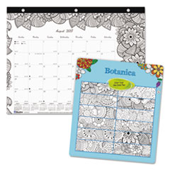 Academic DoodlePlan Desk Pad Mini Calendar w/Coloring Pages, 11x8 1/2, 2017-2018