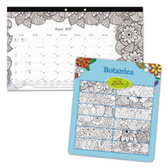 Academic DoodlePlan Desk Pad Calendar w/Coloring Pages,17 3/4 x 10 7/8,2017-2018