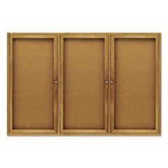 Enclosed Bulletin Board, Natural Cork/Fiberboard, 72 x 48, Oak Frame
