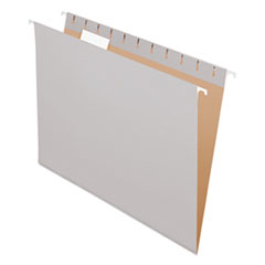 Colored Hanging Folders, 1/5 Tab, Letter, Gray, 25/Box