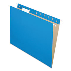 Colored Hanging Folders, 1/5 Tab, Letter, Blue, 25/Box