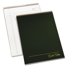 Gold Fibre Wirebound Writing Pad w/Cover, 8 1/2 x 11 3/4, White, Green Cover
