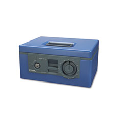 Security Box w/Dual Lock, Removable Cash/Coin Tray, Steel, Blue