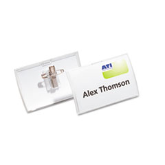 MotivationUSA * Click-Fold Convex Name Badge Holder, Combi-Clip, 3 3/4w x 2 1/4h, Clea at Sears.com