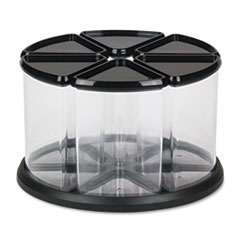 Six Canister Carousel Organizer, Plastic, 11 1/8 x 11 1/8, Black/Clear