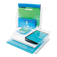 Three-Tier Document Organizer, Plastic, 13 3/8 x 3 1/2 x 11 1/2, Clear
