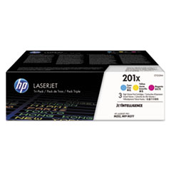 201X High Yield Cyan/Magenta/Yellow Original LaserJet Toner Cartridges, 3/PK