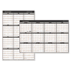 Contemporary Two-Sided Yearly Erasable Wall Planner, 24 x 36, 2018