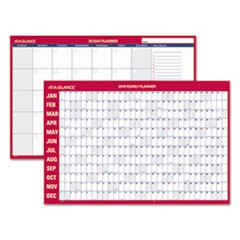 Horizontal Erasable Wall Planner, 36 x 24, White/Red, 2018