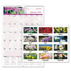 Floral Wall Calendar, 15 1/2 x 22 3/4, Floral, 2018