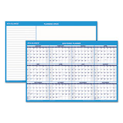 Horizontal Erasable Wall Planner, 36 x 24, Blue/White, 2018