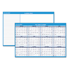 Horizontal Erasable Wall Planner, 48 x 32, Blue/White, 2018