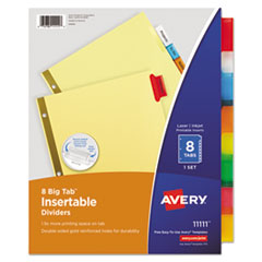 Insertable Big Tab Dividers, 8-Tab, Letter