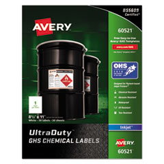 Full-Sheet UltraDuty GHS Chemical Labels, Inkjet, 8 1/2 x 11 , 50/Pack