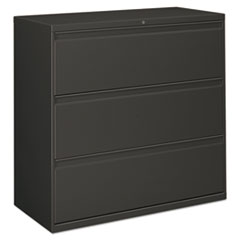 Three-Drawer Lateral File Cabinet, 42w x 18d x 39.5h, Charcoal