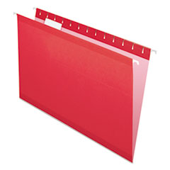 Colored Reinforced Hanging Folders, Legal Size, 1/5-Cut Tab, Red, 25/Box