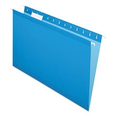 Colored Reinforced Hanging Folders, Legal Size, 1/5-Cut Tab, Blue, 25/Box