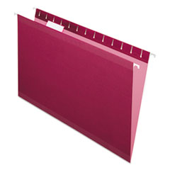 Colored Reinforced Hanging Folders, Legal Size, 1/5-Cut Tab, Burgundy, 25/Box