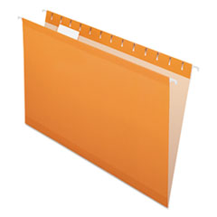 Colored Reinforced Hanging Folders, Legal Size, 1/5-Cut Tab, Orange, 25/Box