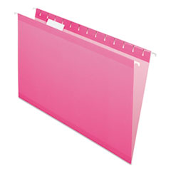 Colored Reinforced Hanging Folders, Legal Size, 1/5-Cut Tab, Pink, 25/Box