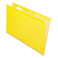 Colored Reinforced Hanging Folders, Legal Size, 1/5-Cut Tab, Yellow, 25/Box