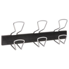 "WALL-MOUNT COAT HOOKS, METAL, SILVER, 22 LB, 18.11"" X 2.95"""
