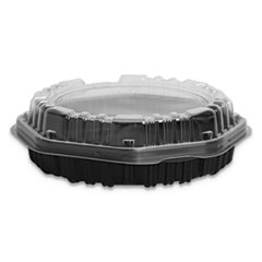 Creative_Carryouts_Hinged_Plastic_Hot_Deli_Boxes_Clear_Black_100_Carton
