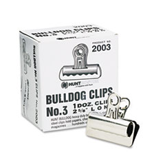 "Bulldog Clips, Steel, 7/8"" Capacity, 2-5/8""w, Nickel-Plated, 12 per Box"